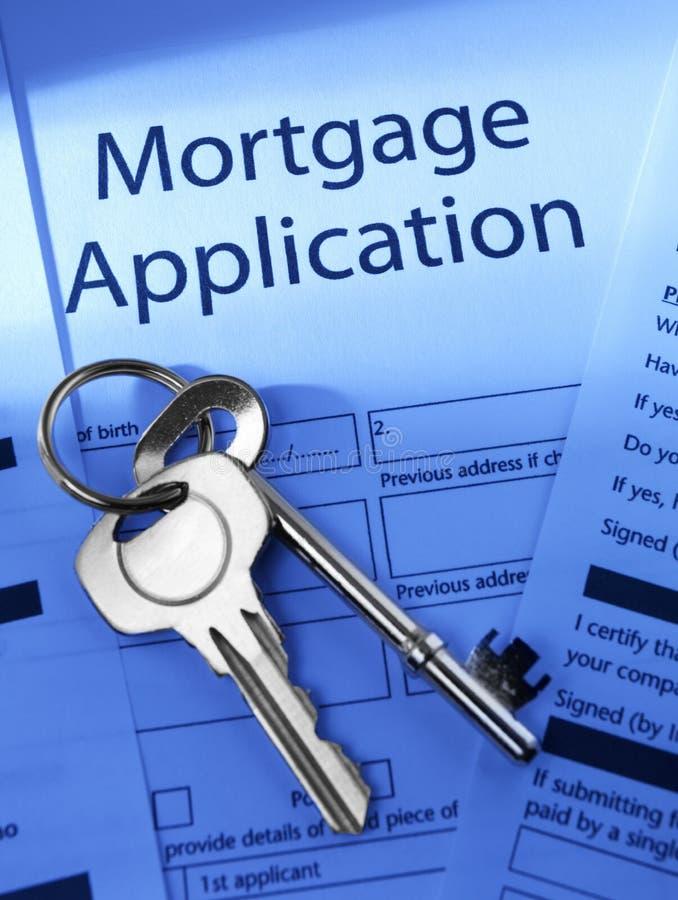 Aplicación de hipoteca fotos de archivo