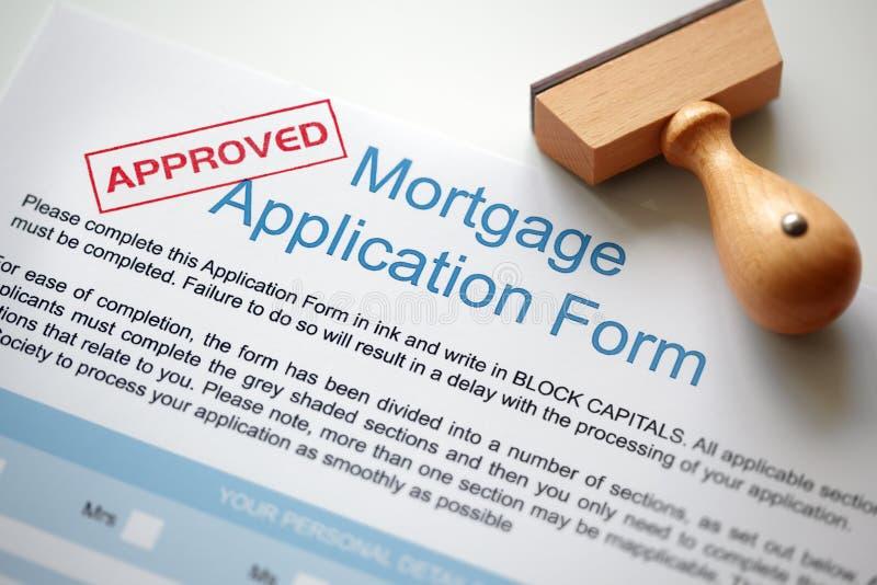 Aplicación de hipoteca aprobada foto de archivo libre de regalías