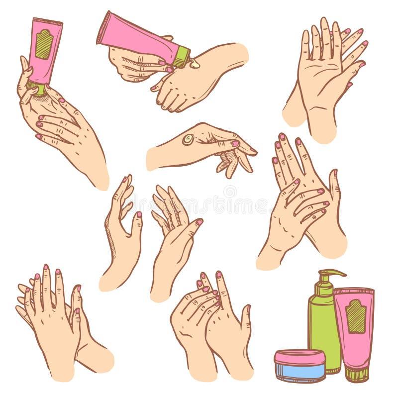 Aplicación de la composición plana de los iconos de las manos poner crema ilustración del vector
