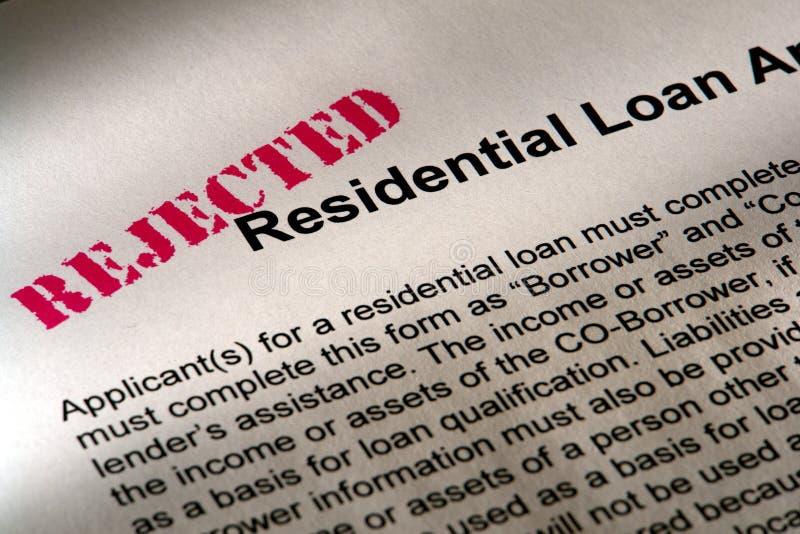 Aplicación de préstamo rechazada foto de archivo