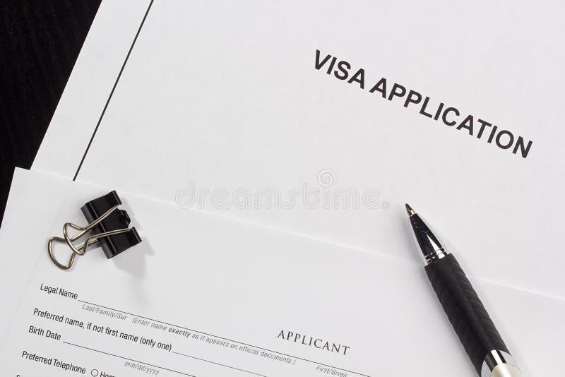 Aplicación de visa imagen de archivo libre de regalías