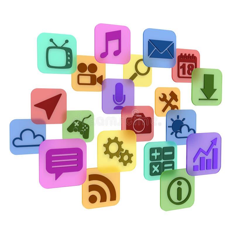 Aplicación - iconos de 3d app ilustración del vector