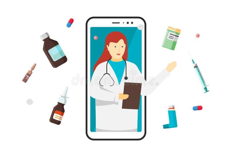 Aplicación médica de consultoría de Internet mediante chat móvil en línea Mujer blanca en la pantalla del smartphone con medicame stock de ilustración