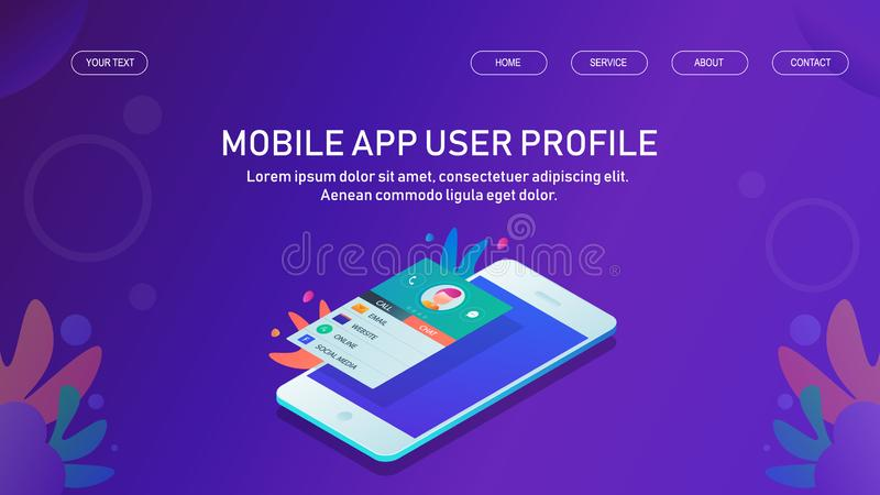 Aplicación móvil, app del perfil de usuario, datos móviles del cliente, bandera isométrica del vector del diseño ilustración del vector