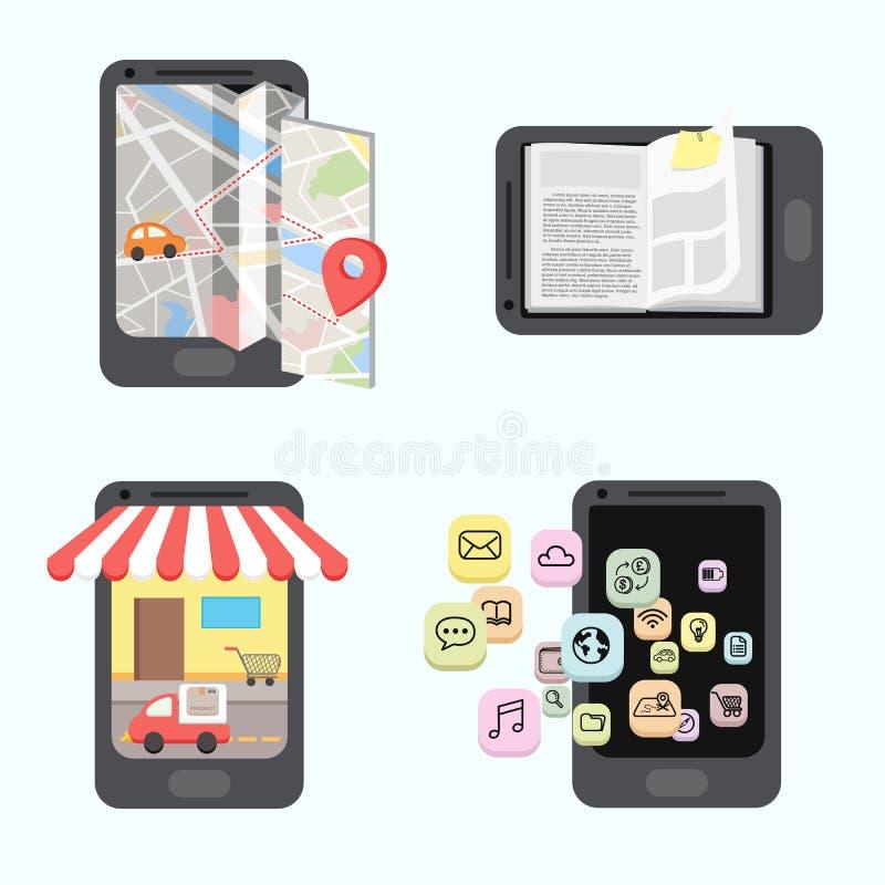 Aplicación móvil de Infographics stock de ilustración