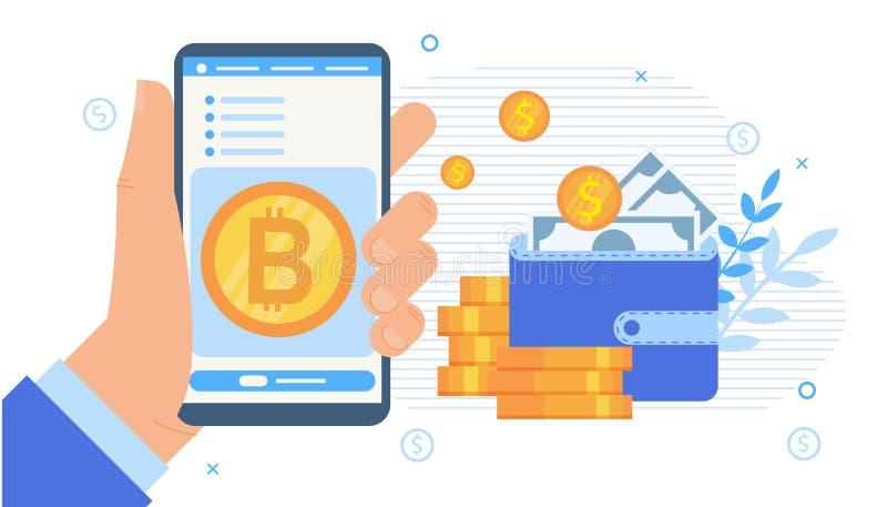Aplicación móvil de la bolsa de acción de Cryptocurrency ilustración del vector