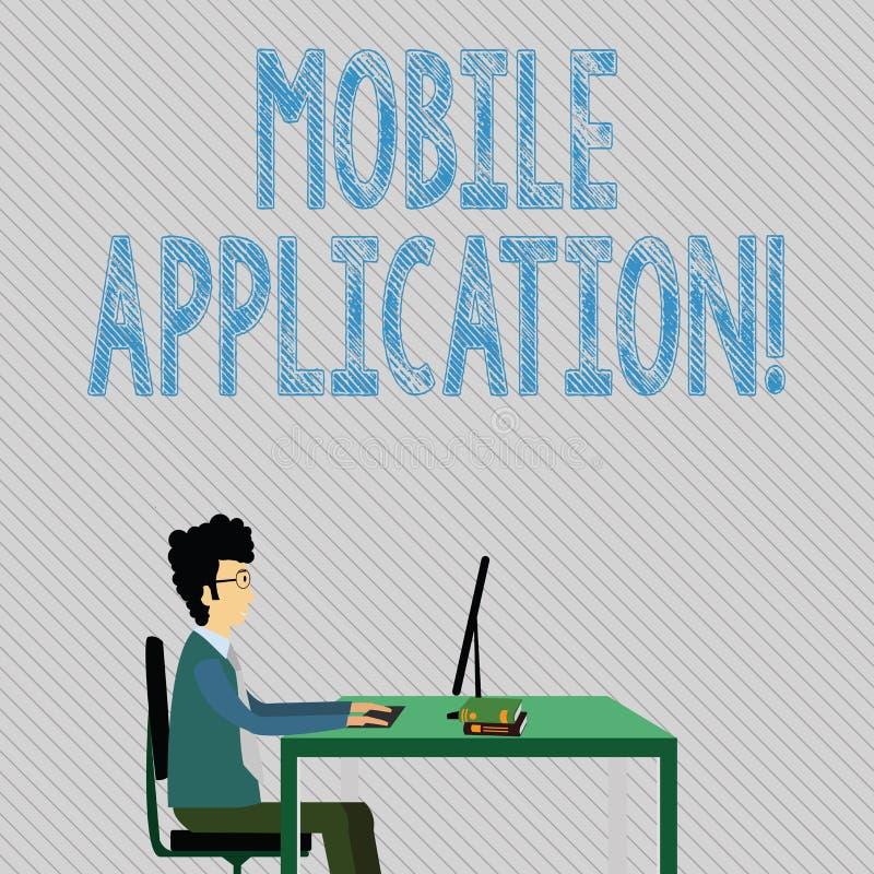 Aplicación móvil de la demostración de la muestra del texto Software de aplicación conceptual de la foto diseñado para correr en  stock de ilustración