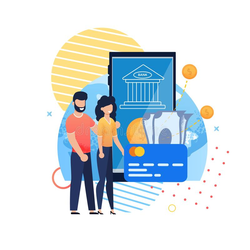 Aplicación móvil en línea del banco para los ahorros de la familia libre illustration