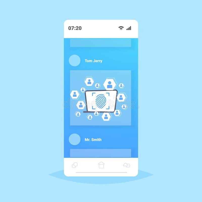 Aplicación móvil en línea seguridad de huellas dactilares biométricas protección de datos acceso futuro usuario de tecnología inf libre illustration