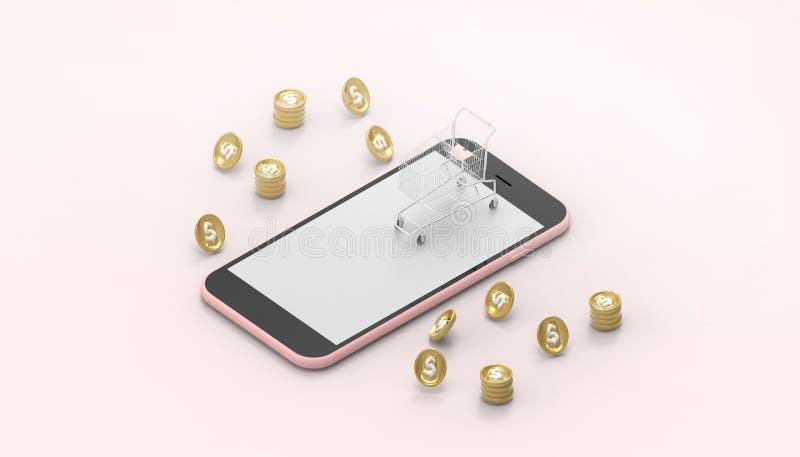 Aplicación móvil en línea y dinero del márketing de Digitaces del concepto del teléfono que hace compras elegante en fondo rosado stock de ilustración