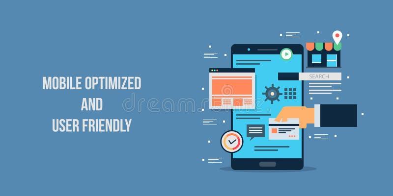 Aplicación móvil optimizada, interfaz de usuario, compras móviles y concepto del e-pago Bandera plana del vector del diseño ilustración del vector