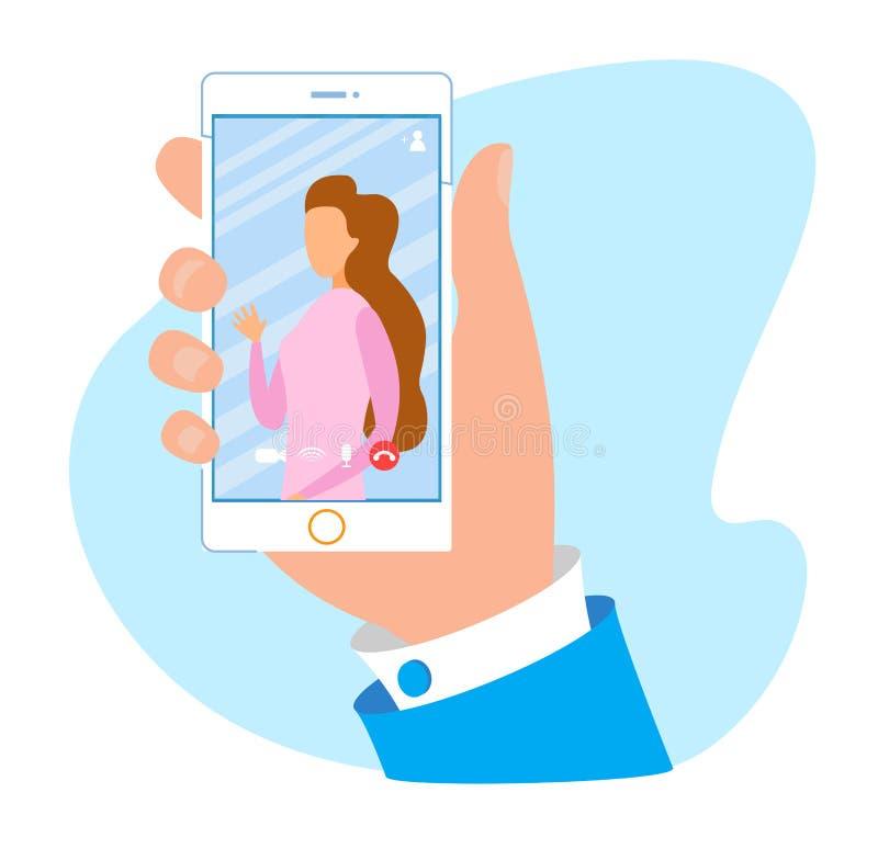 Aplicación móvil para el anuncio video de la llamada y de la charla stock de ilustración