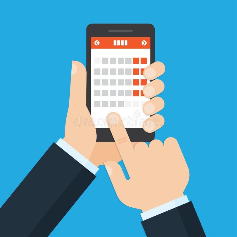 Aplicación móvil para el calendario ilustración del vector