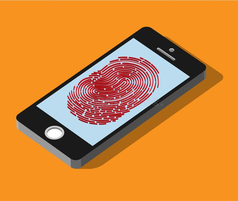Aplicación móvil para el reconocimiento de la huella dactilar en 3d stock de ilustración
