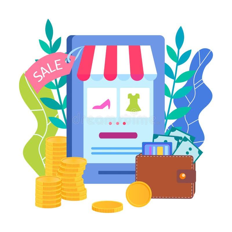 Aplicación móvil para la tienda en línea del teléfono, compras en línea ilustración del vector