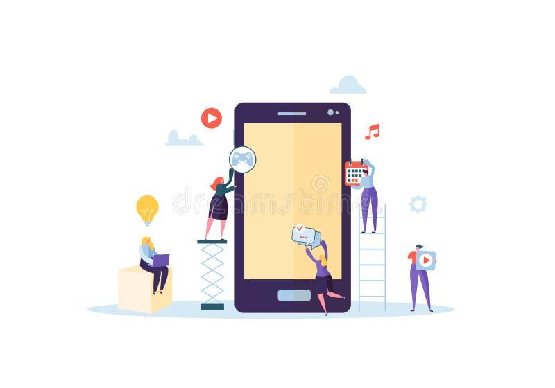 Aplicación móvil plana del edificio de caracteres de la gente libre illustration