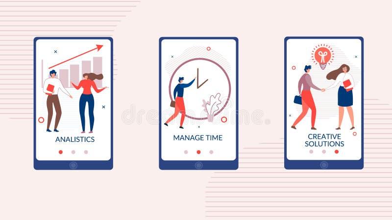 Aplicación móvil plana fijada para la puesta en marcha del negocio stock de ilustración