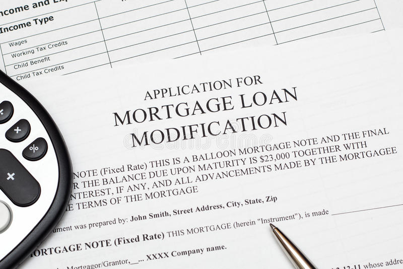Aplicación para la modificación del préstamo de hipoteca fotografía de archivo