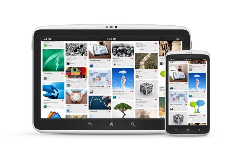Aplicación social de los media en los dispositivos digitales ilustración del vector