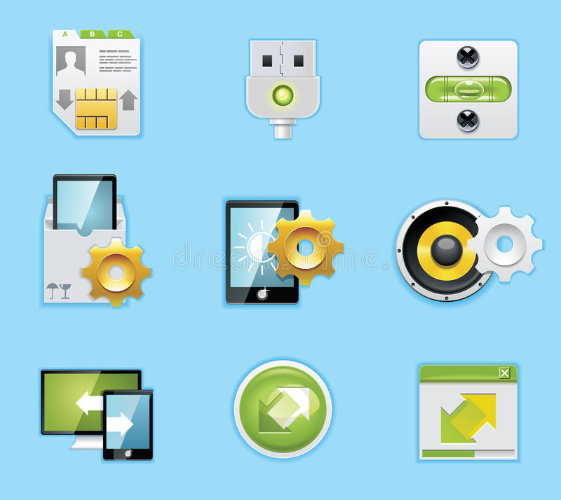 Aplicaciones e iconos de los servicios stock de ilustración