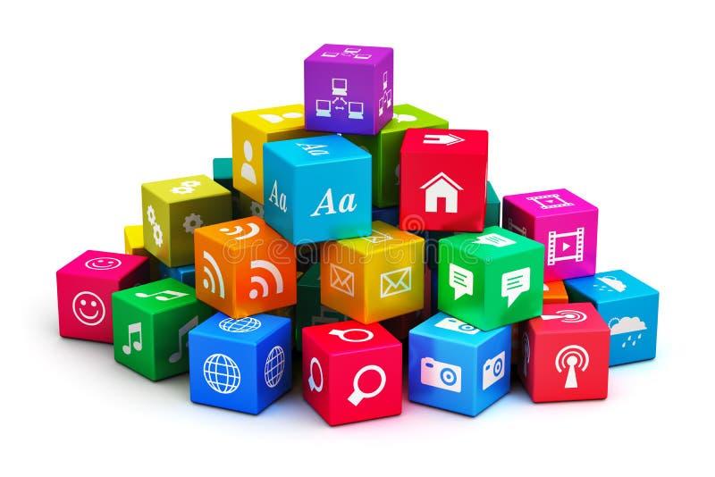 Aplicaciones móviles y medios concepto de la tecnología stock de ilustración