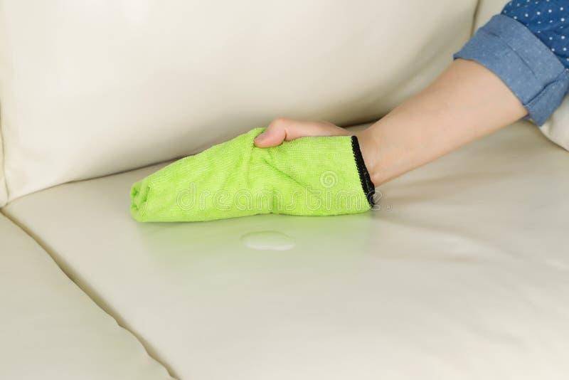 Aplicando a solução da limpeza ao sofá de couro imagens de stock royalty free