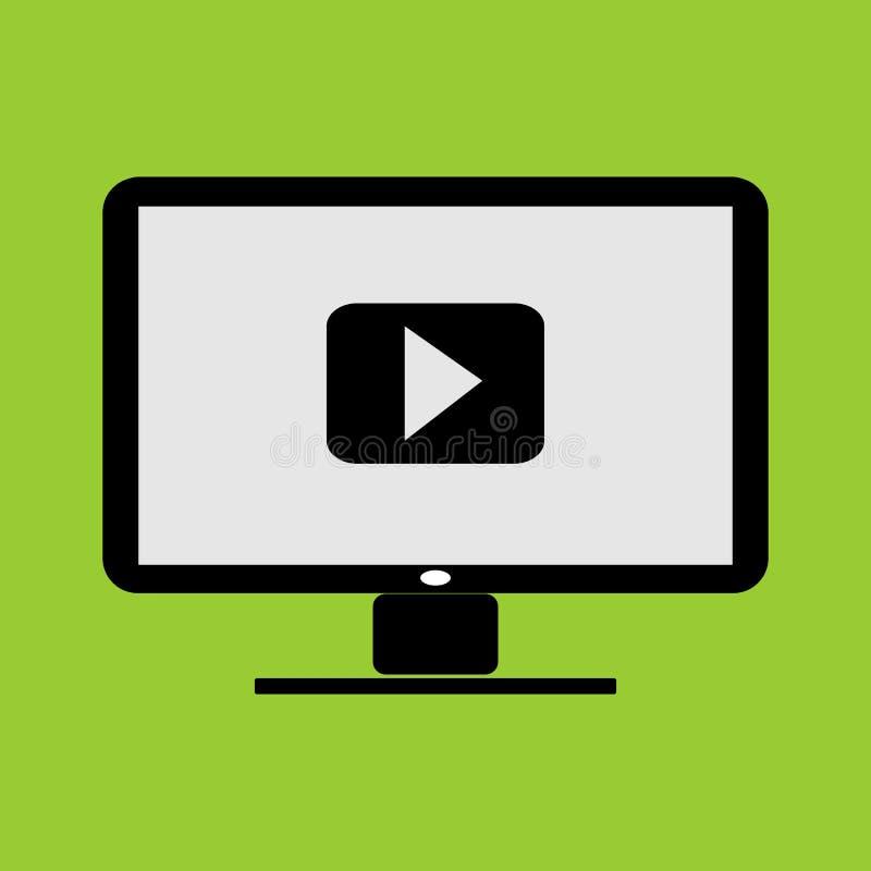 Aplicativo de miniatura de vídeo ou player de música no ícone e na ilustração vetorial de computador do PC do monitor LC ilustração stock