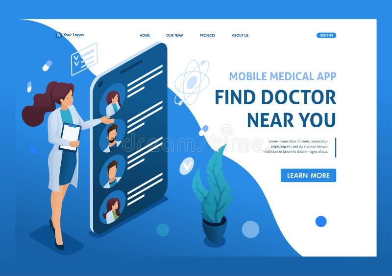 Aplicativo móvel para procurar médicos próximos com você Conceito de cuidados de saúde 3d isométrico Conceitos de página inicial  ilustração do vetor