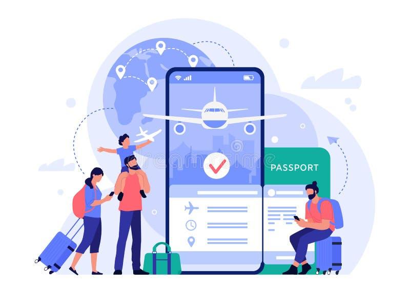 Aplikacja do kupowania biletów lotniczych Ludzie kupujący bilety online, telefoniczna usługa rezerwacji dla turystyki i wakacji,  ilustracji