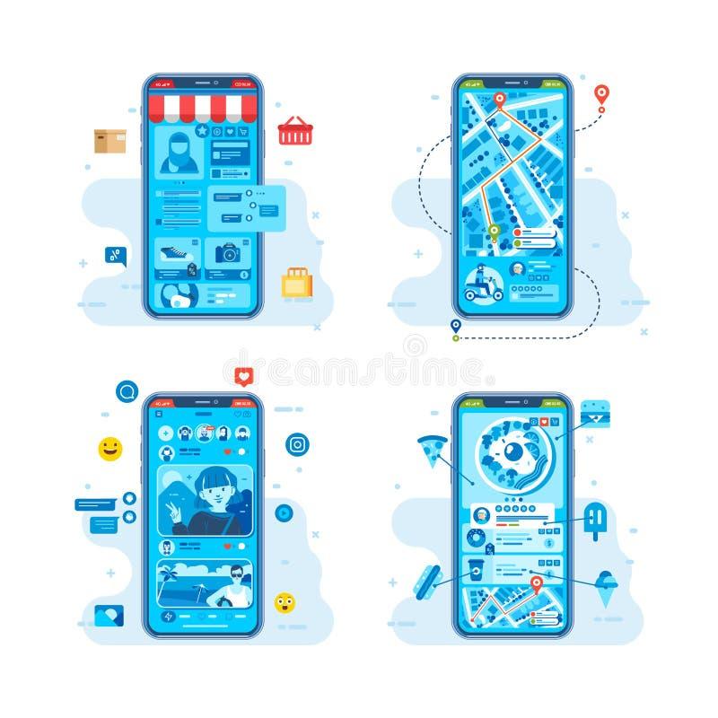 Aplikacja mobilna do dowolnych potrzeb, takich jak transport, porządek żywnościowy, media społecznościowe do ilustracji wektora s fotografia stock