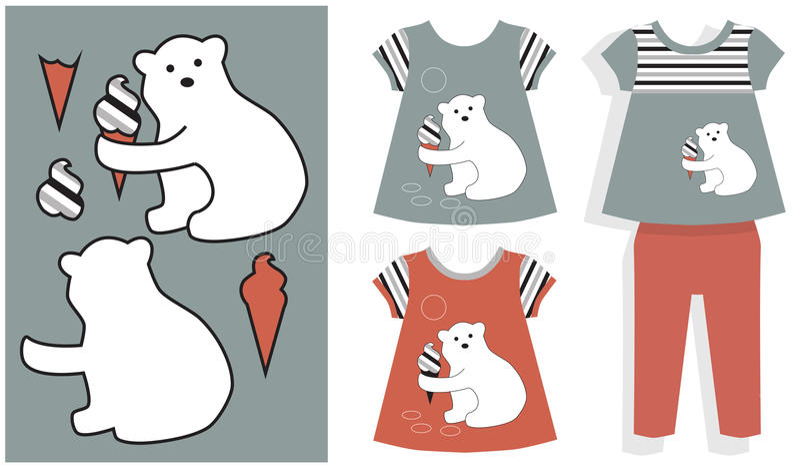 Aplikacyjny biały niedźwiedź i lody ilustracji