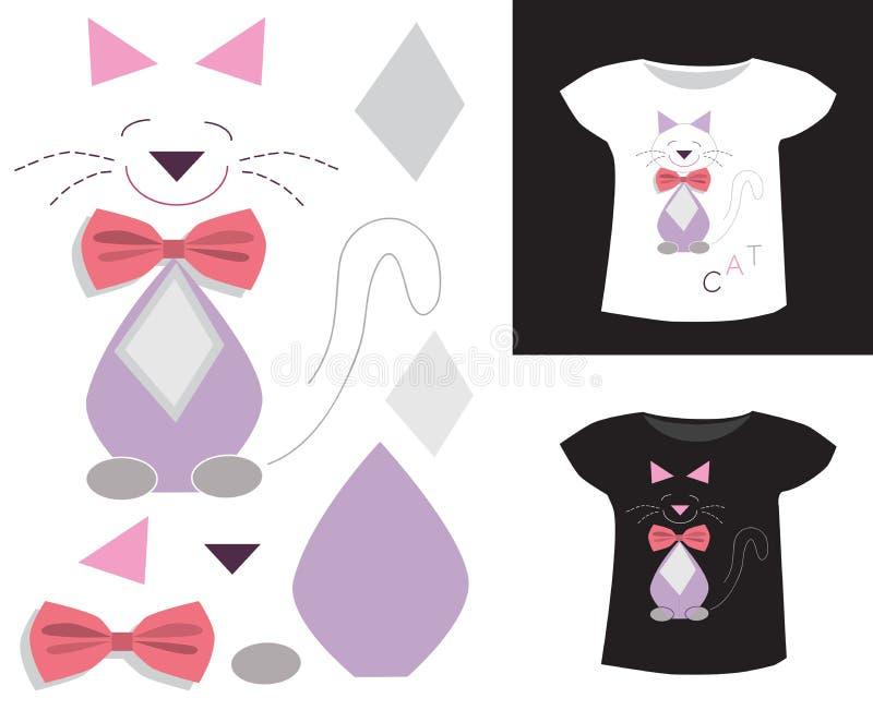 Aplikacyjny kot z łękiem royalty ilustracja
