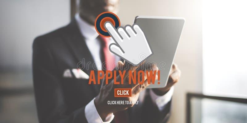 Aplique agora o conceito dos recursos humanos do emprego da aplicação fotos de stock royalty free