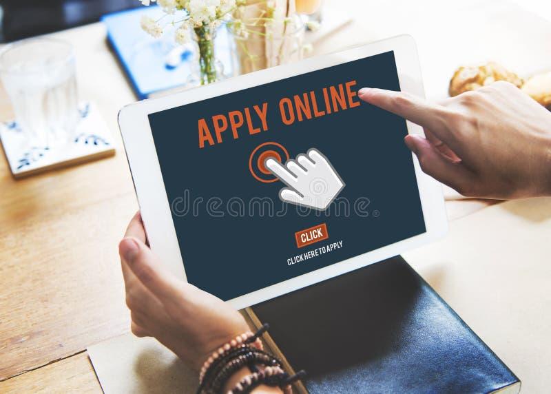 Aplique aplicam aqui Job Concept em linha imagens de stock royalty free