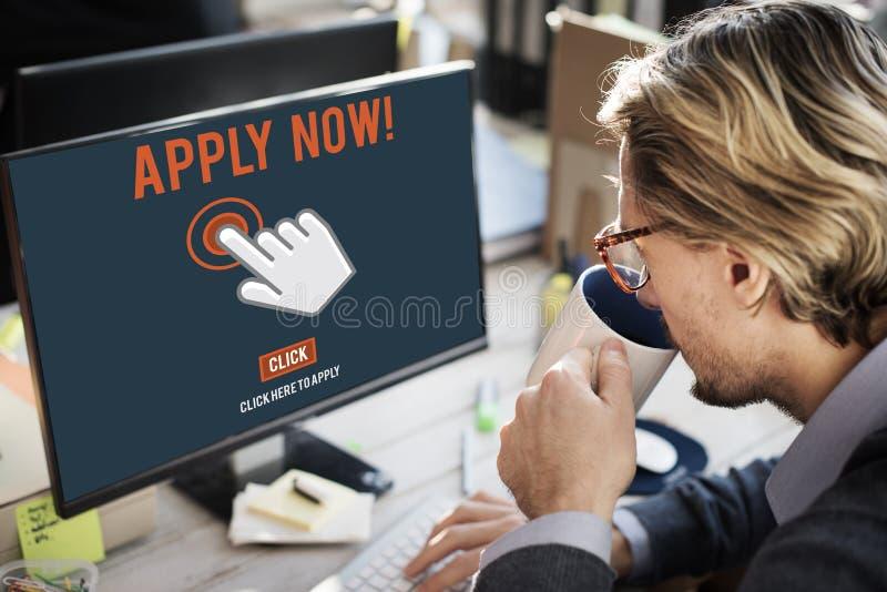 Aplique aplicam aqui Job Concept em linha imagens de stock