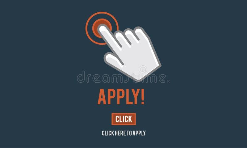 Aplique aplicam aqui Job Concept em linha ilustração stock