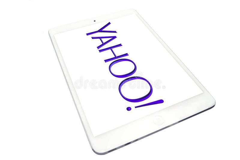 Aplique o iPad mini e logotipo de Yahoo imagens de stock
