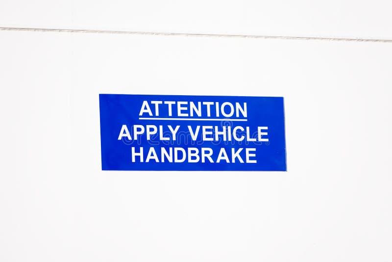 Aplique o sinal do veículo do handbrake no navio da balsa fotografia de stock royalty free
