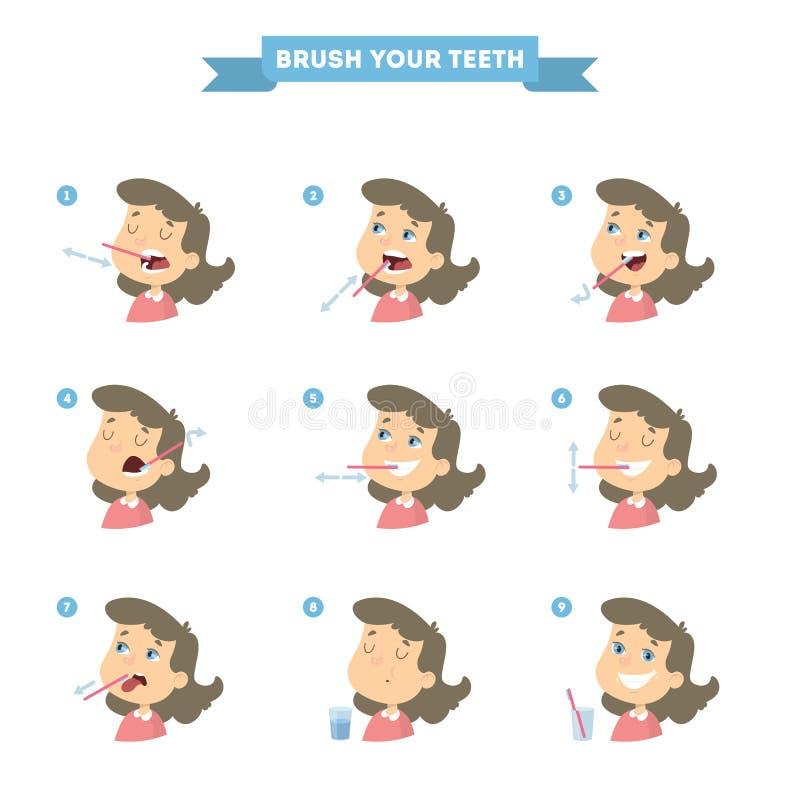 Aplique sus dientes con brocha ilustración del vector