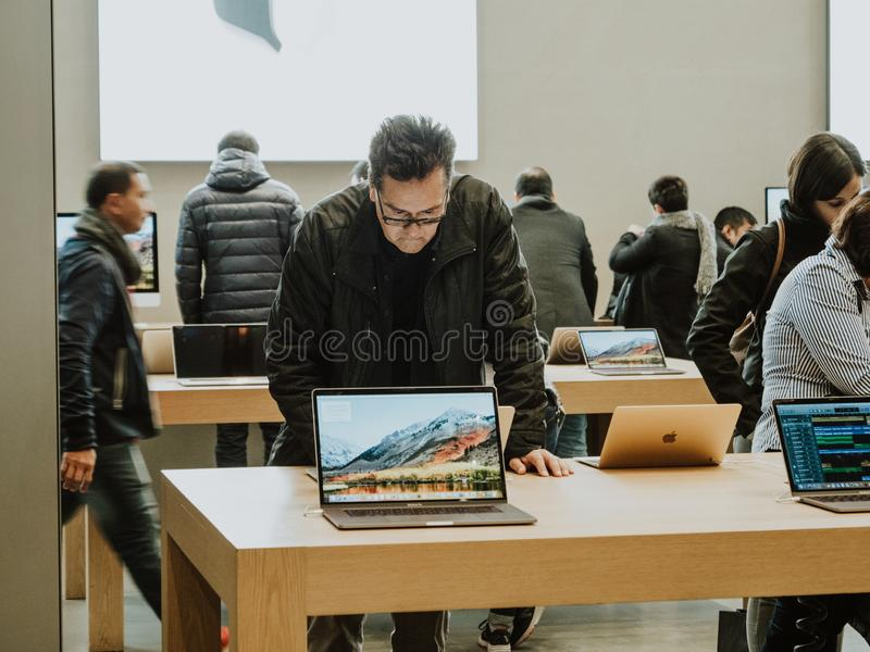 Aplle Store on the latest MacBook pro 15 laptop stock photos