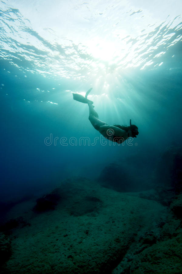 Apnea - Freediving In Turquoise Water Royalty Free Stock Image