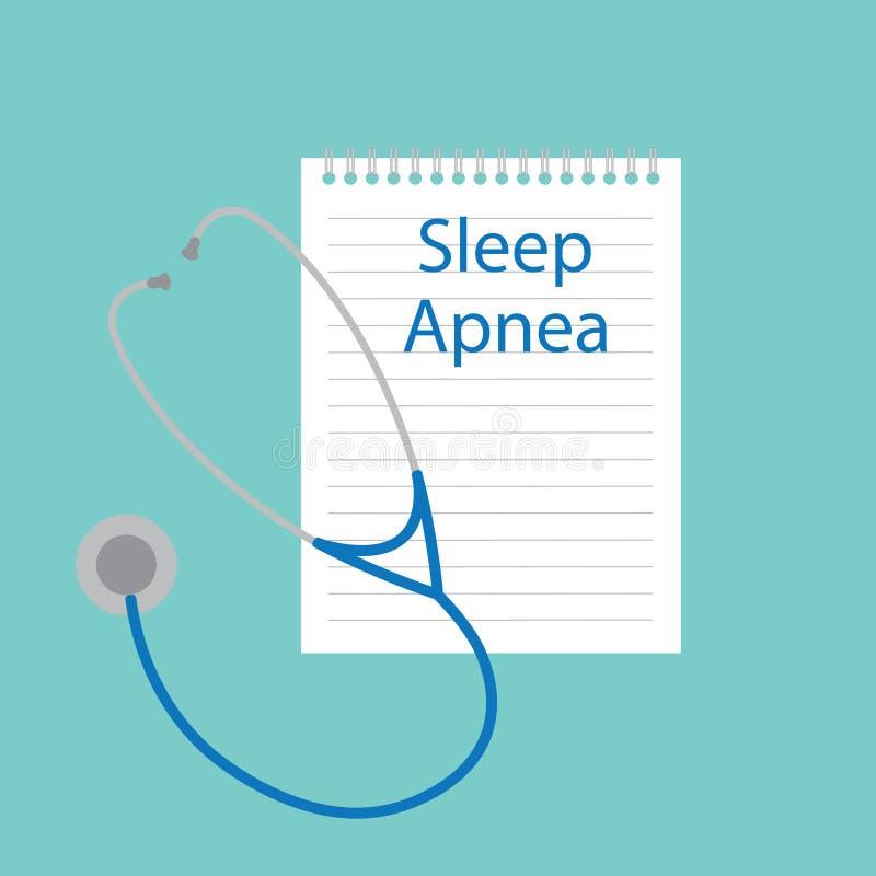 Apneia do sono escrita no caderno ilustração stock