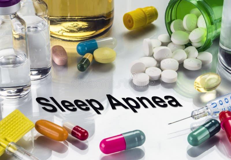 Apneia do sono, medicinas como o conceito do tratamento ordinário fotos de stock