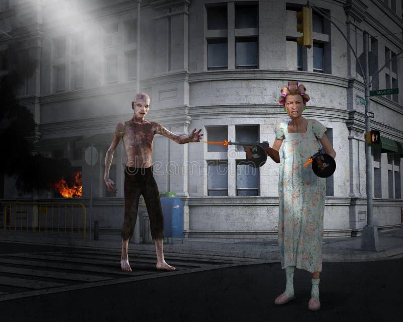 Apocalipse engraçado, zombi, mulher idosa ilustração do vetor