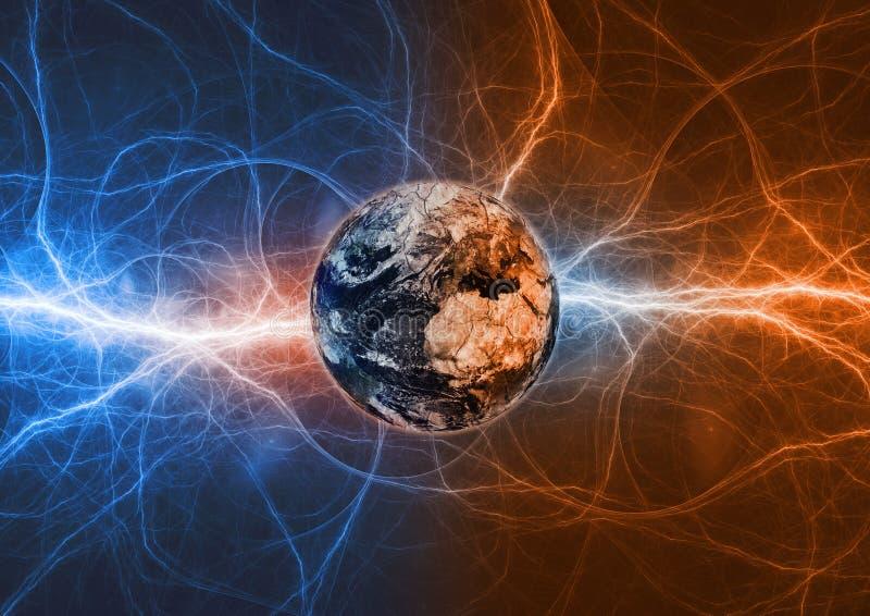 Apocalipsis de la tierra del planeta en relámpagos del fuego y del hielo libre illustration