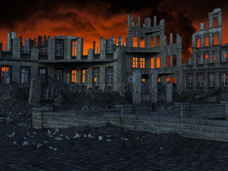 Apocalipsis, ruinas de la ciudad, terremoto, guerra foto de archivo