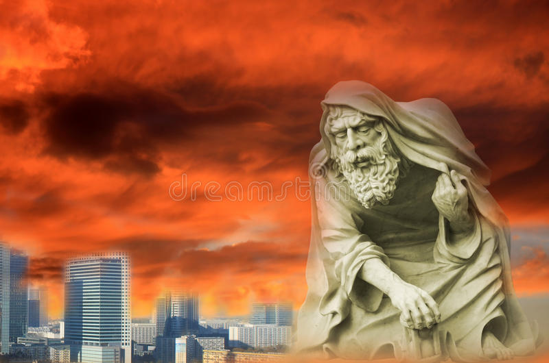 Apocalypse. In the city with angel of death royalty free stock image