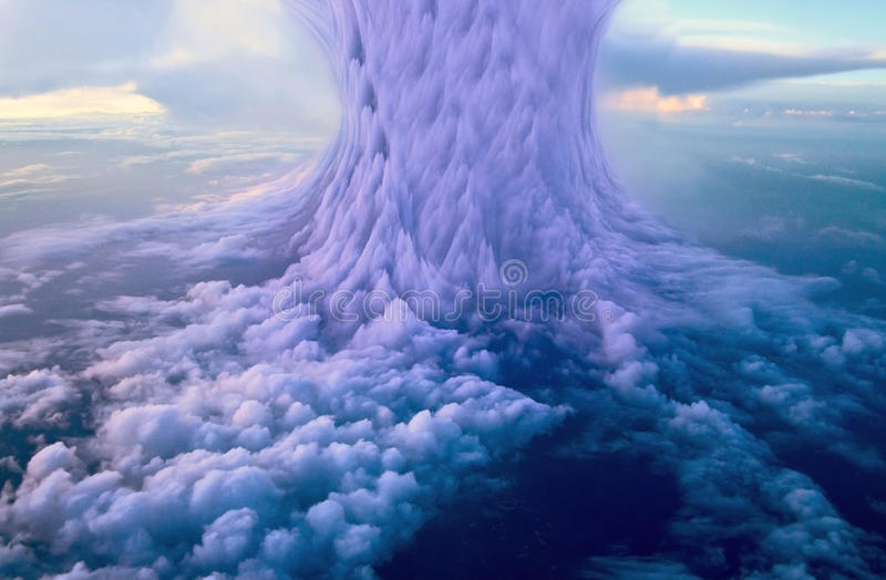 Apocalypse. Sky with nuclear clouds photo manipulation royalty free stock photos
