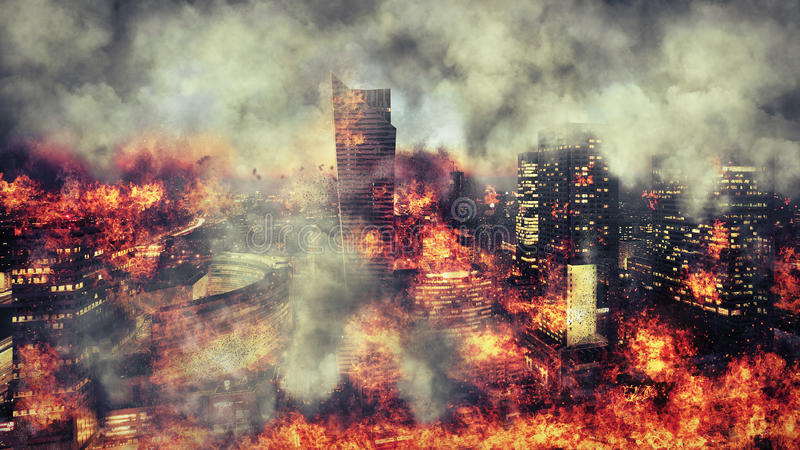 Apocalypse. Burning city, abstract vision. Photo manipulation stock photography