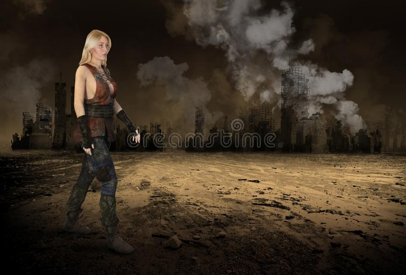 Apocalypse, Burning City, Desolate World. A beautiful young woman walks through a surreal landscape after the apocalypse. A burning city is in the background, it stock photography